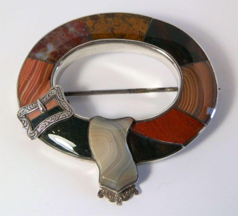 Scottish Victorian agate, silver brooch, c1880