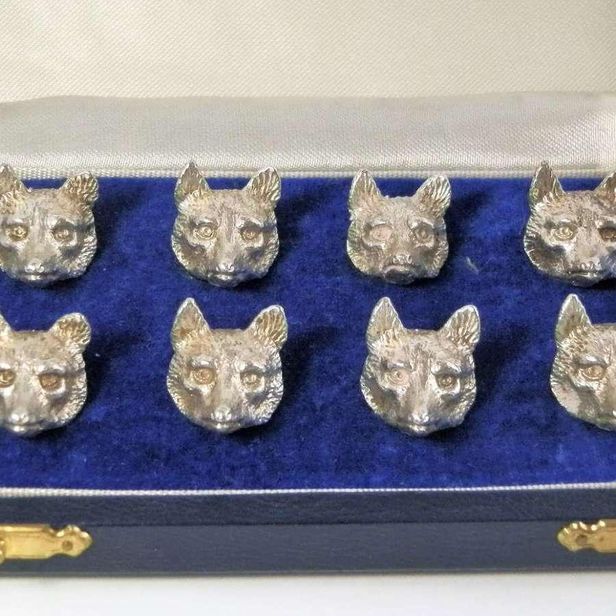 Silver fox head menu holders by A.E. Jones, Birmingham 1989
