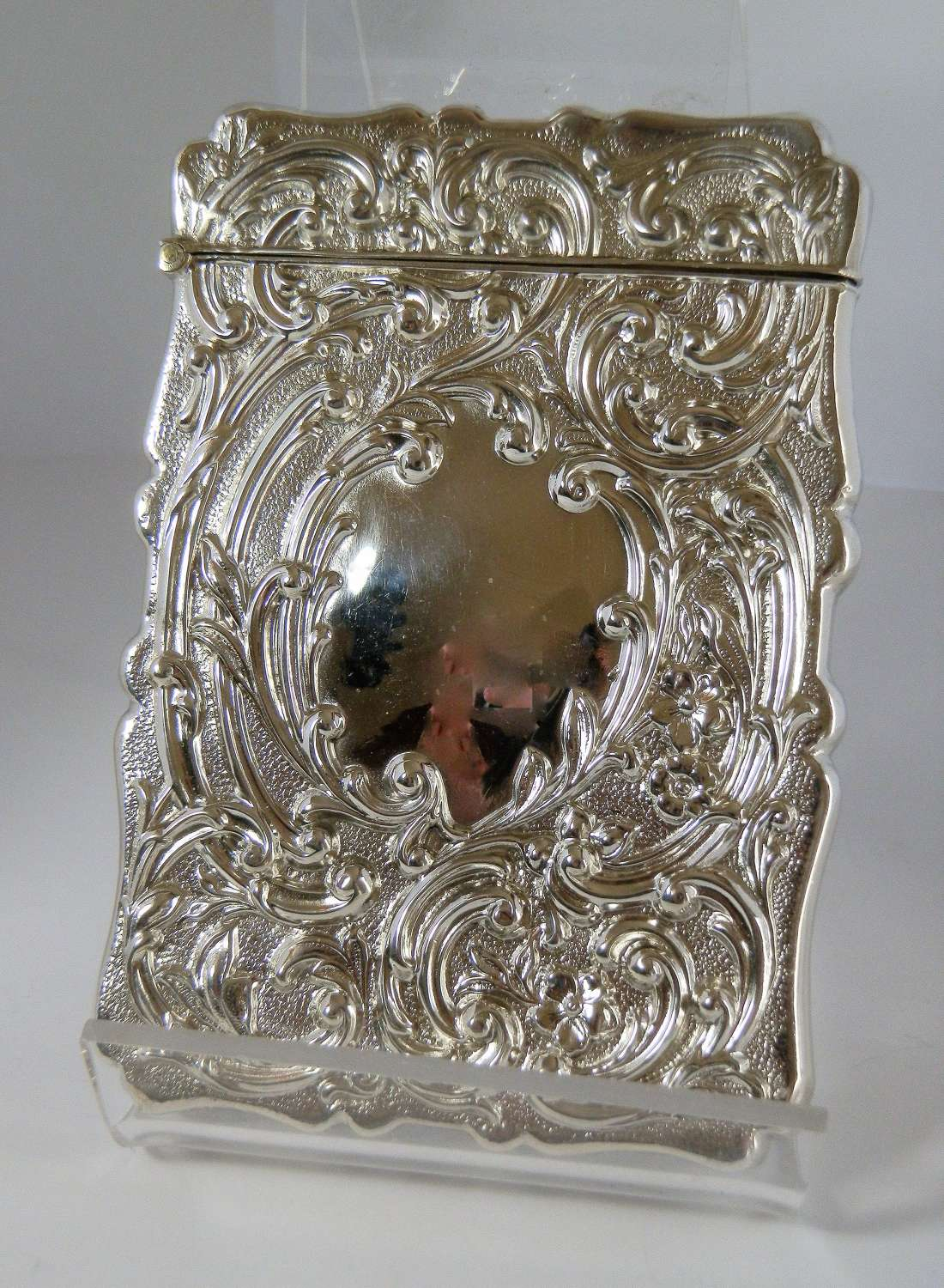 Edwardian silver card case by Spurrier & Co, Birmingham 1908