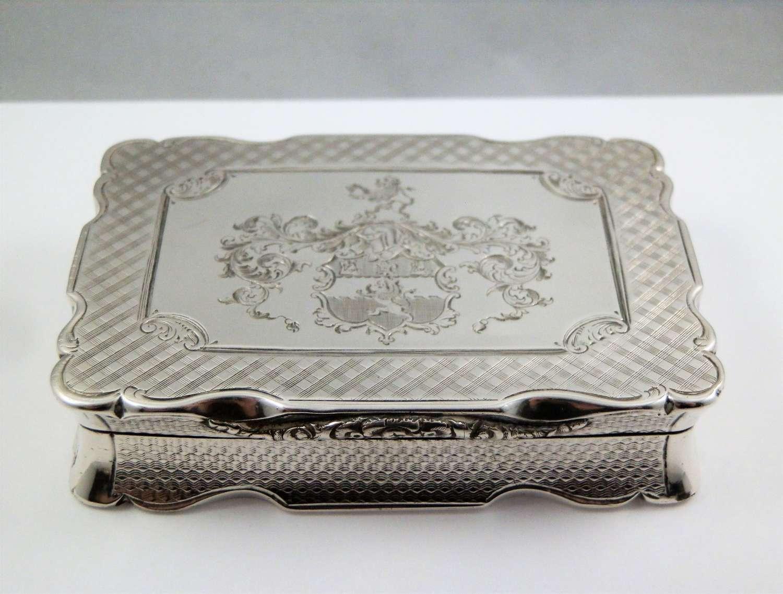 Victorian table silver snuff box, Nathaniel Mills, 1847