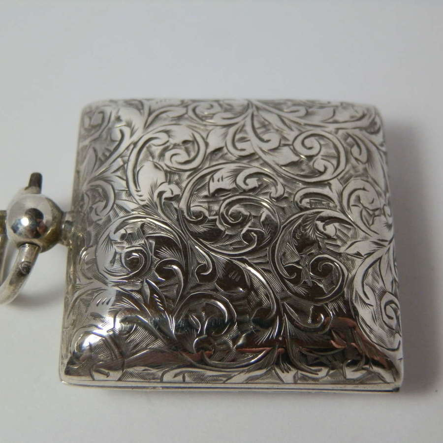 Edwardian silver square sovereign case, Birmingham 1902
