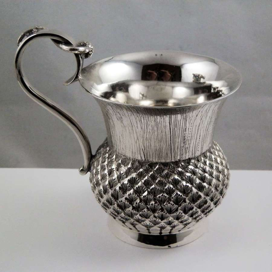 Edwardian Scottish silver thistle cup, Edinburgh 1904