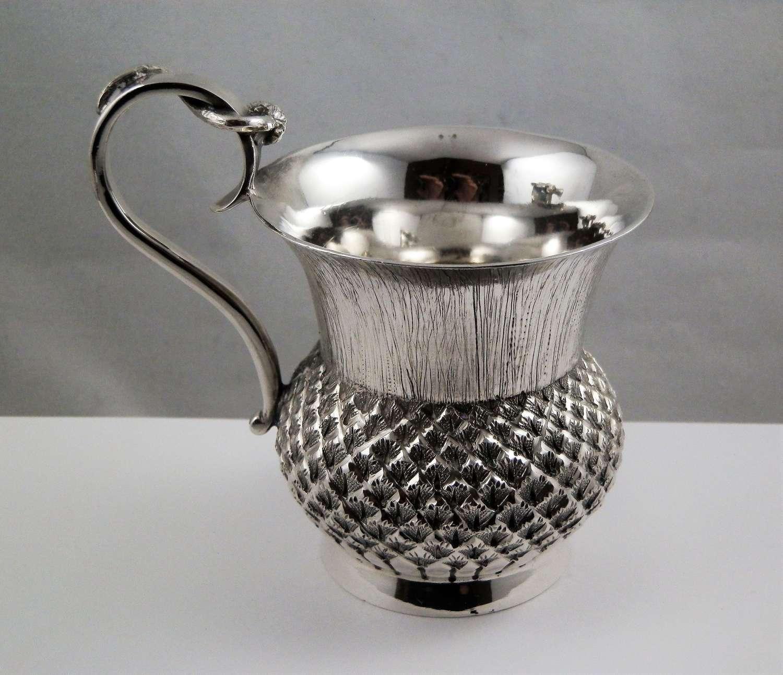 Edwardian Scottish silver thistle cup, Edinburgh 1904