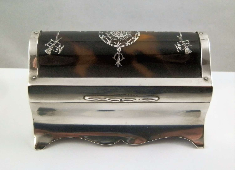 Edwardian silver tortoise shell jewellery box, London, Wm Comyns 1911