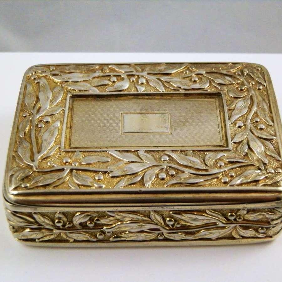 George III silver gilt snuff box, Joseph Wilmore, Birmingham 1825