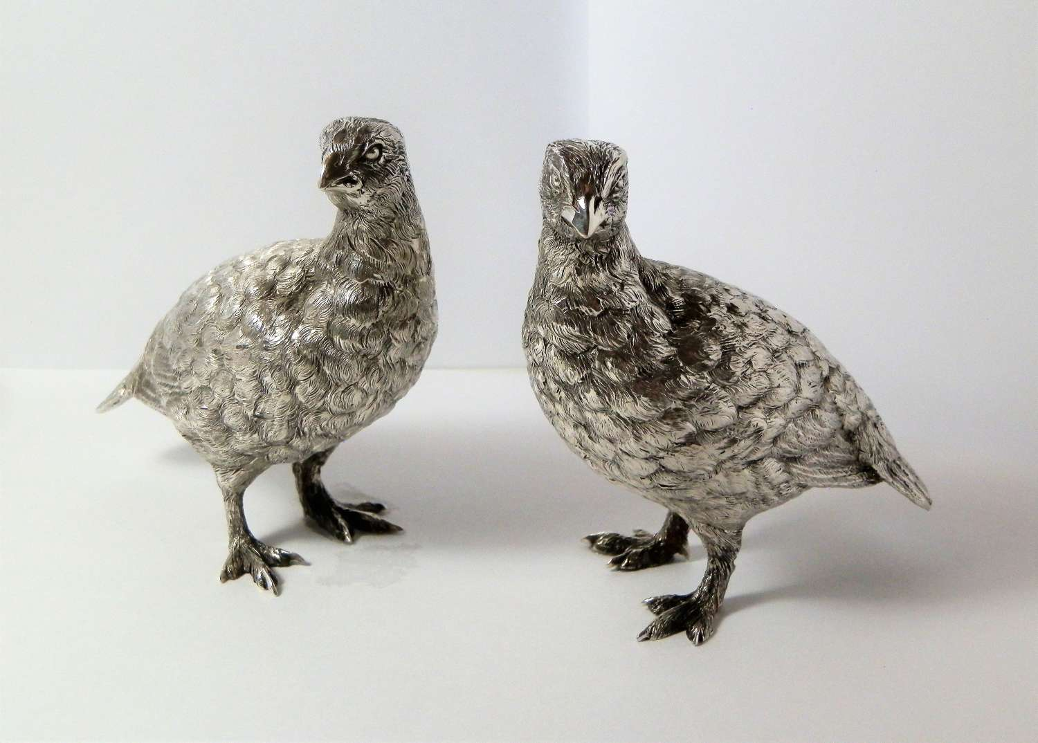 A pair of silver Quails by Tessiers, London 1958