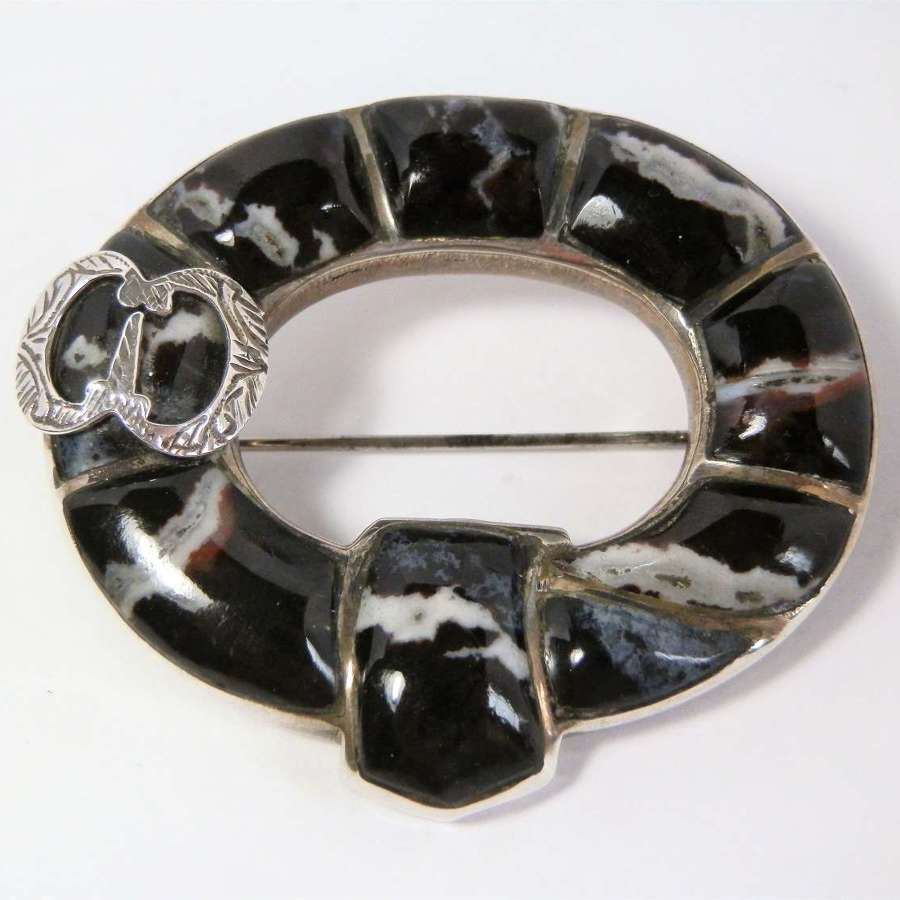 Scottish silver and agate buckle style brooch, c.1880