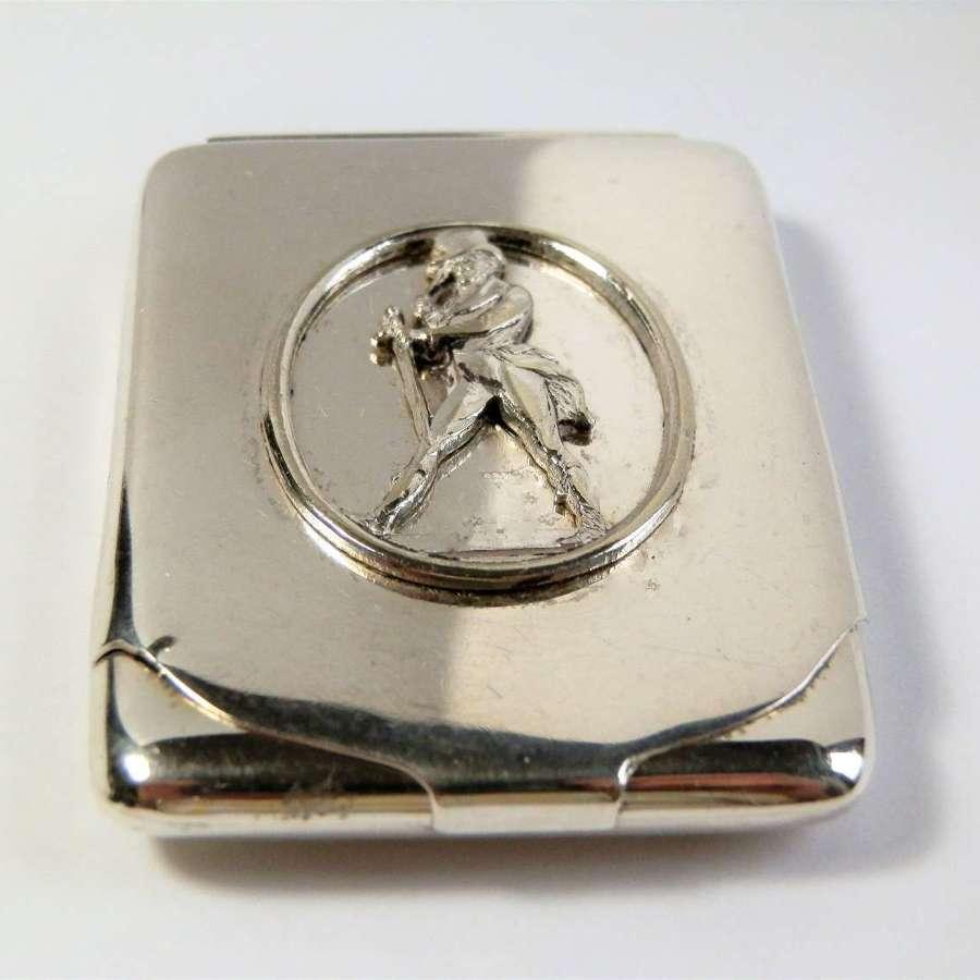 George V silver matchbook cover, JohnnieWalker Whisky, Birmingham 1927