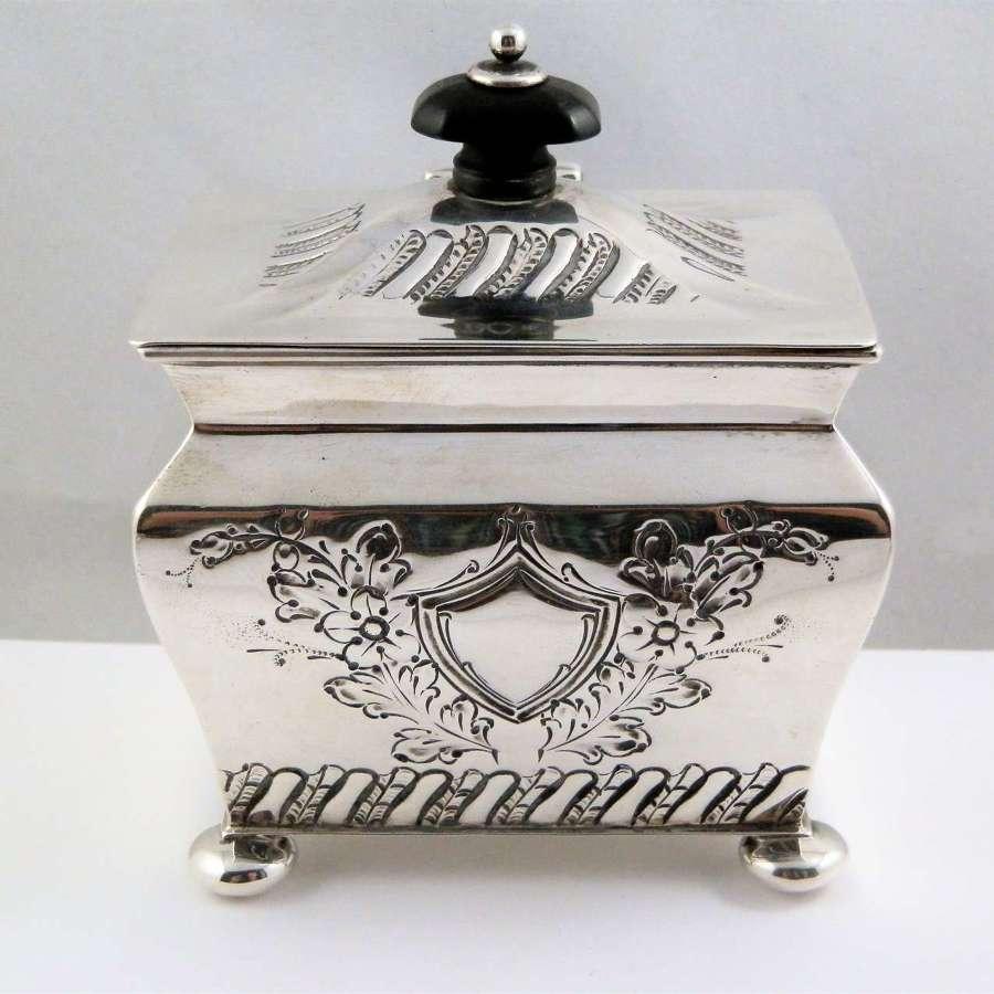 Victorian silver tea caddy by Henry Stratford, Sheffield 1894