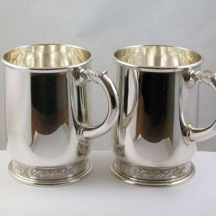 A pair of Elizabeth II silver tankards, Asprey & Co 1960