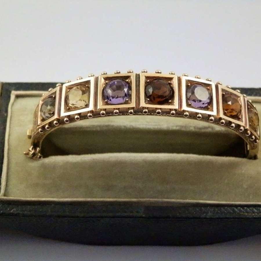 A Scottish gold and gem set bangle, Edinburgh c.1870