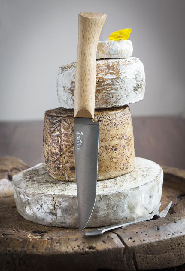Cheese serving knife and fork