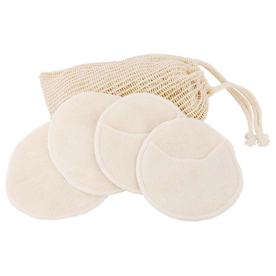 Set 4 bamboo zero-waste bamboo make-up remover pads in a bag