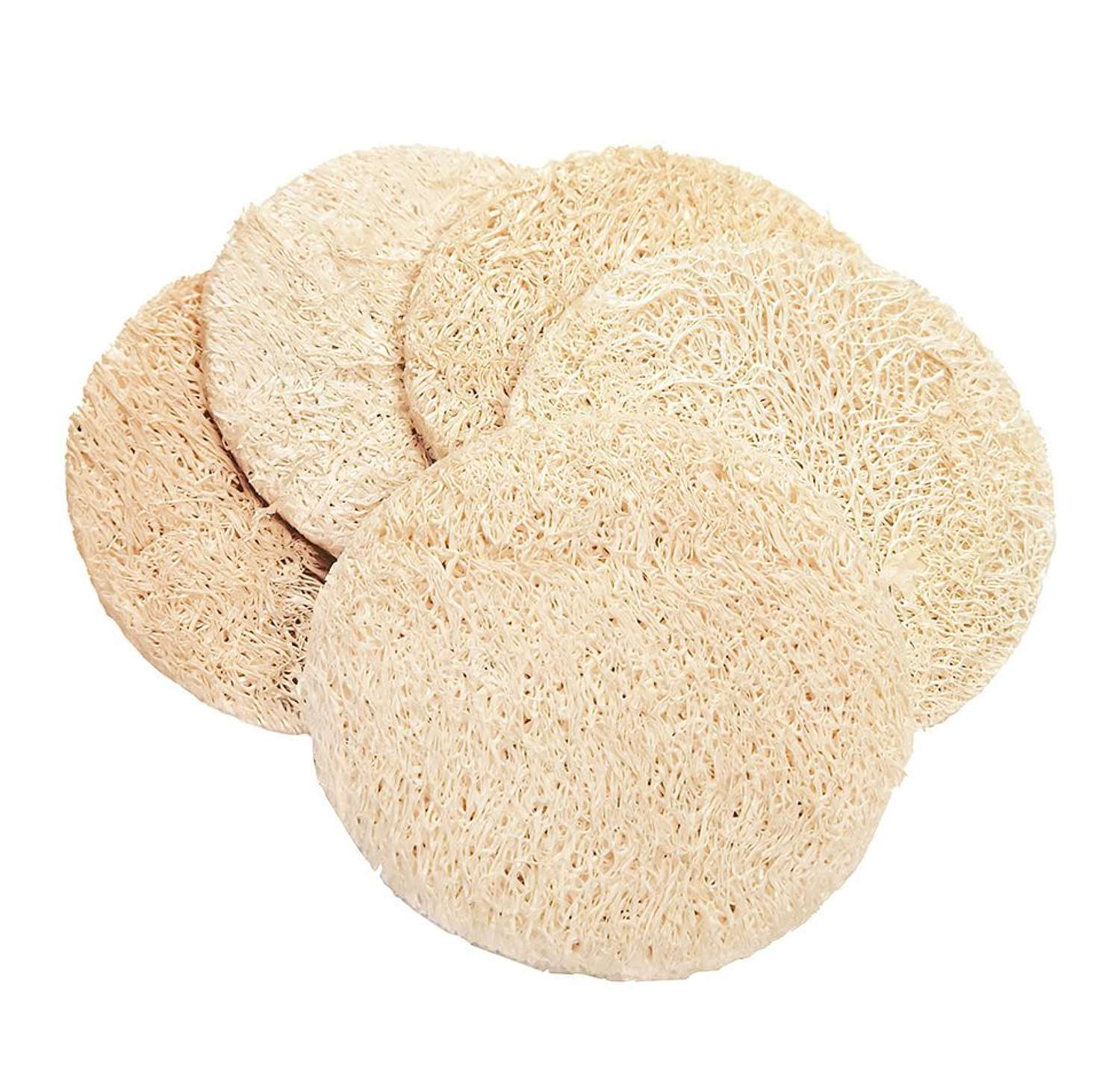 Round Loofah exfoliating pads - Pack of 5 pads