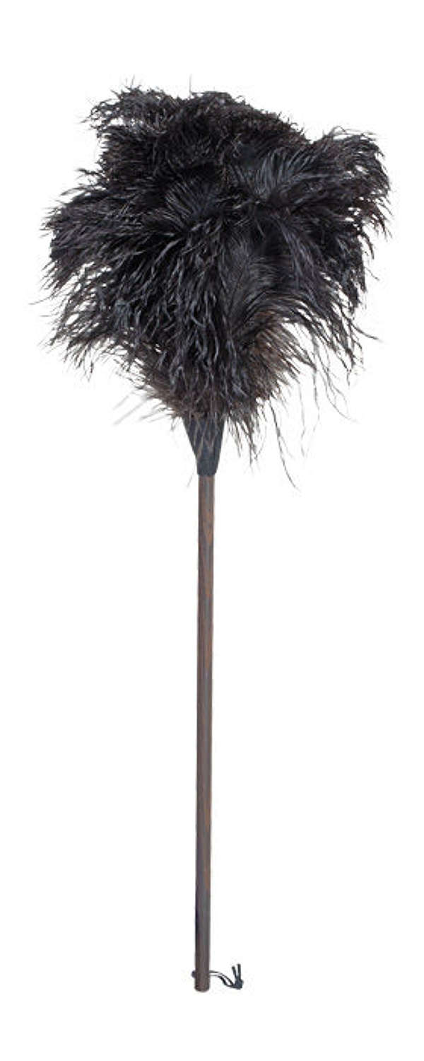 Ostrich Feather Duster - Dark oiled Thermowood handle 90cm
