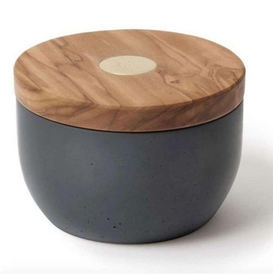 Millenari Salt Cellar - anthracite dark grey concrete & Brass Logo