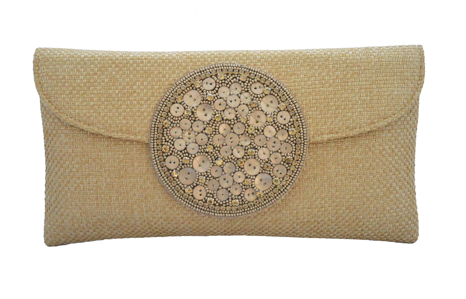 Gold Jute clutch with beaded motif