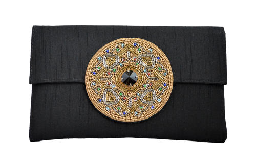 Black Silk clutch with beaded motif