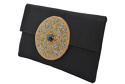Black Silk clutch with beaded motif - picture 2
