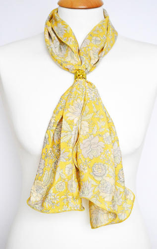 Yellow Floral Crepe Silk Scarf