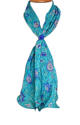 Turquoise Floral Crepe Silk Scarf - picture 1