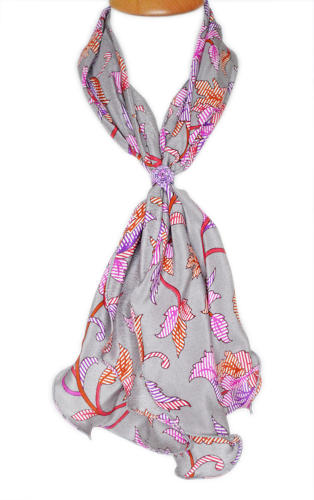 Striped Floral Crepe Silk Scarf