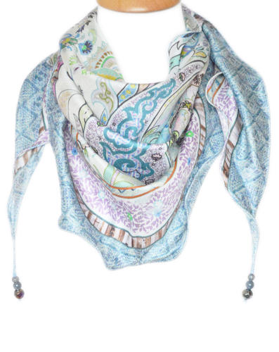 Paisley Silk Triangle Scarf with beads