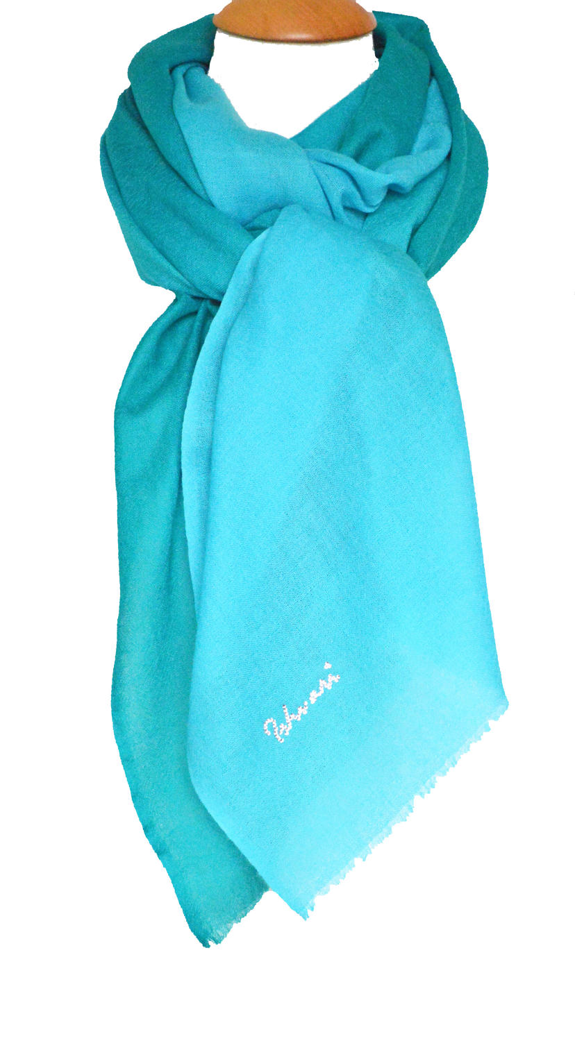 Turquoise/Teal Ombre Wool/Silk Scarf
