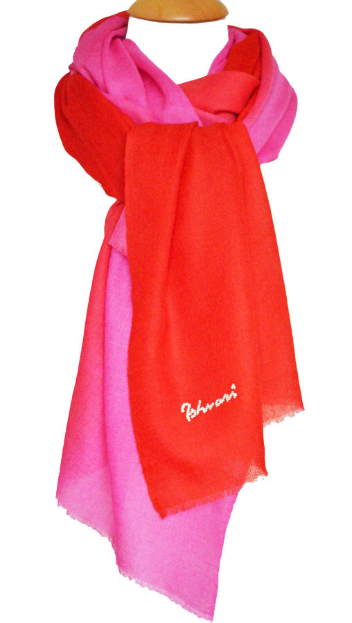 Red/Pink Ombre Wool/Silk Scarf