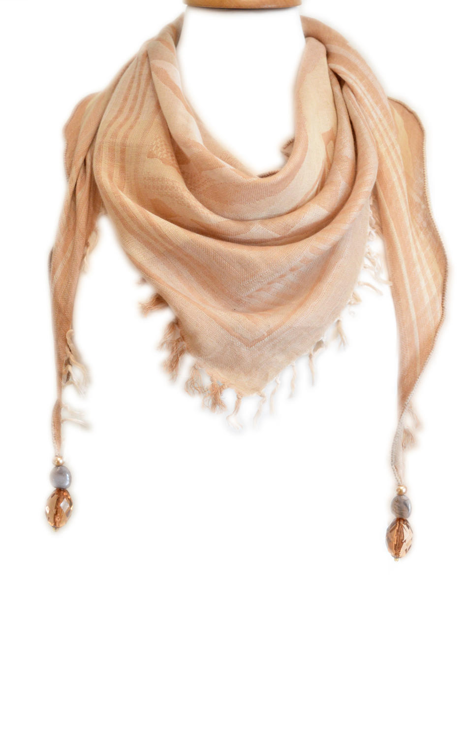 Tassel Triangle Scarf with beads