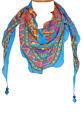 Geo Crepe Silk Triangle Scarf with beads - picture 1