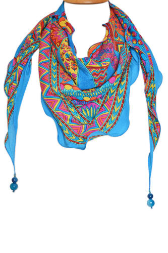 Geo Crepe Silk Triangle Scarf with beads
