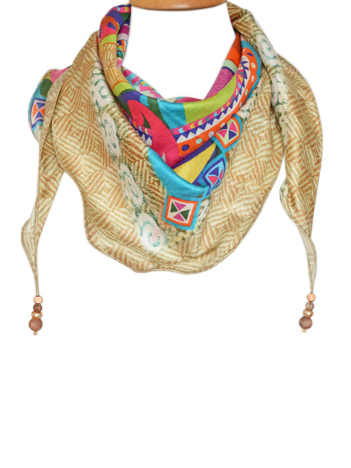 Boxed Multi Crosshatch Silk Triangle Scarf with beads