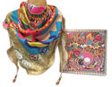 Boxed Multi Crosshatch Silk Triangle Scarf with beads - picture 4