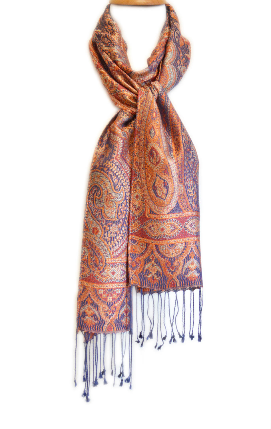 Orange/Navy Silk Jacquard Scarf