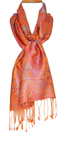 Orange/Purple Silk Jacquard Scarf