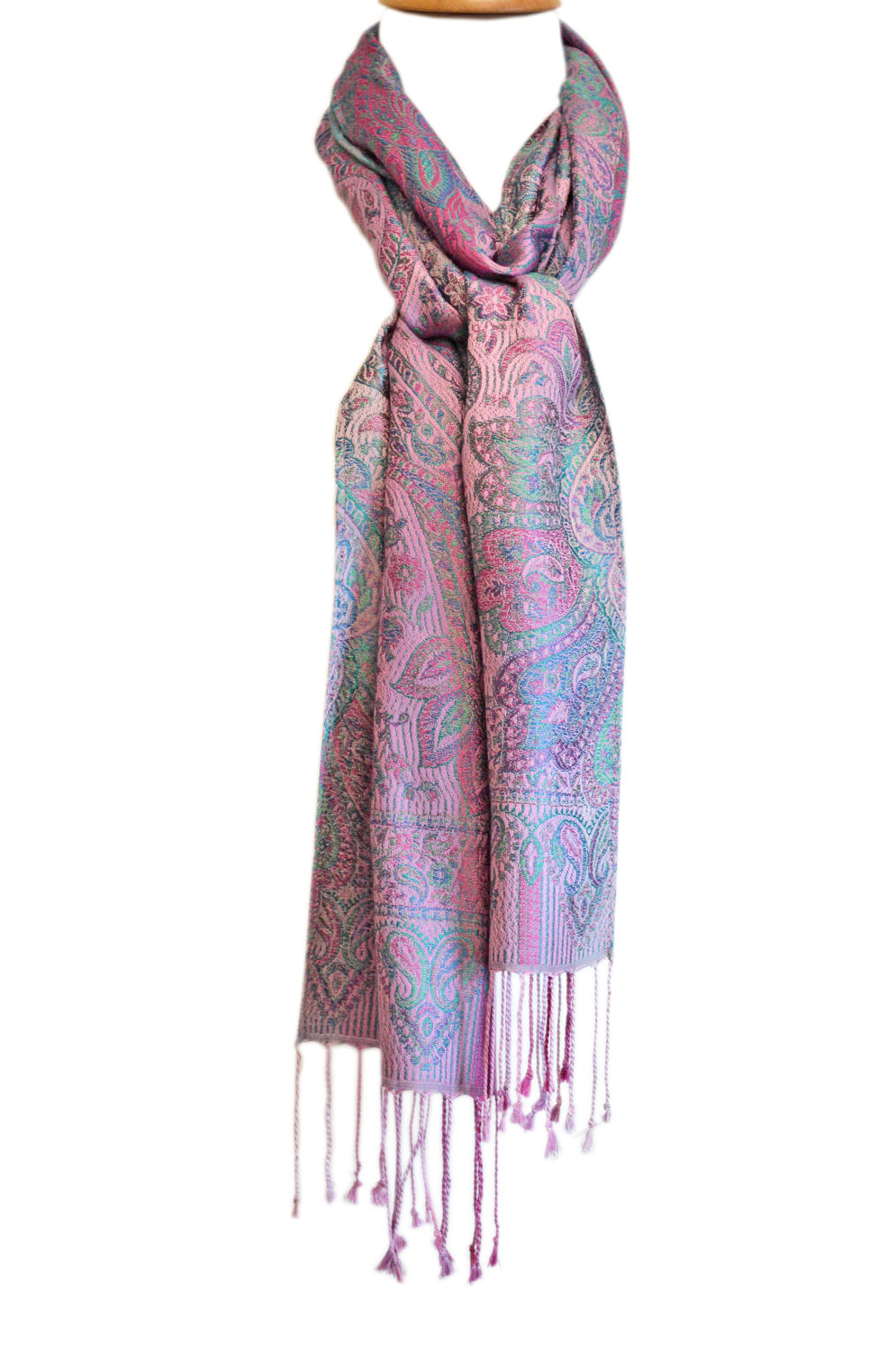 Purple/Teal Silk Jacquard Scarf
