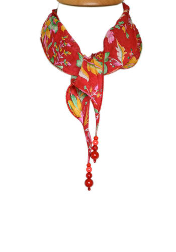 Red Floral Silk Necklace Scarf