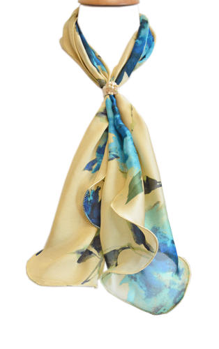 Floral Abstract Satin Silk Scarf