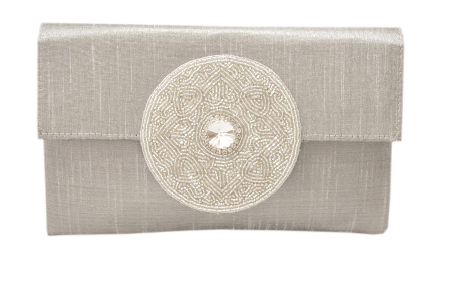 Silver Silk clutch with beaded motif