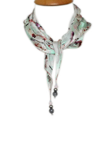 Mint Cherry Blossom Silk Necklace Scarf