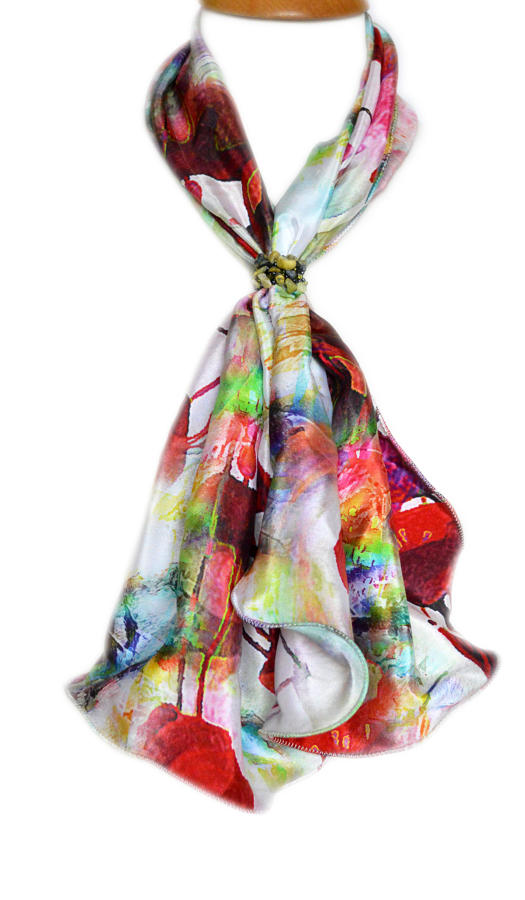 Multi Abstract Silk Scarf