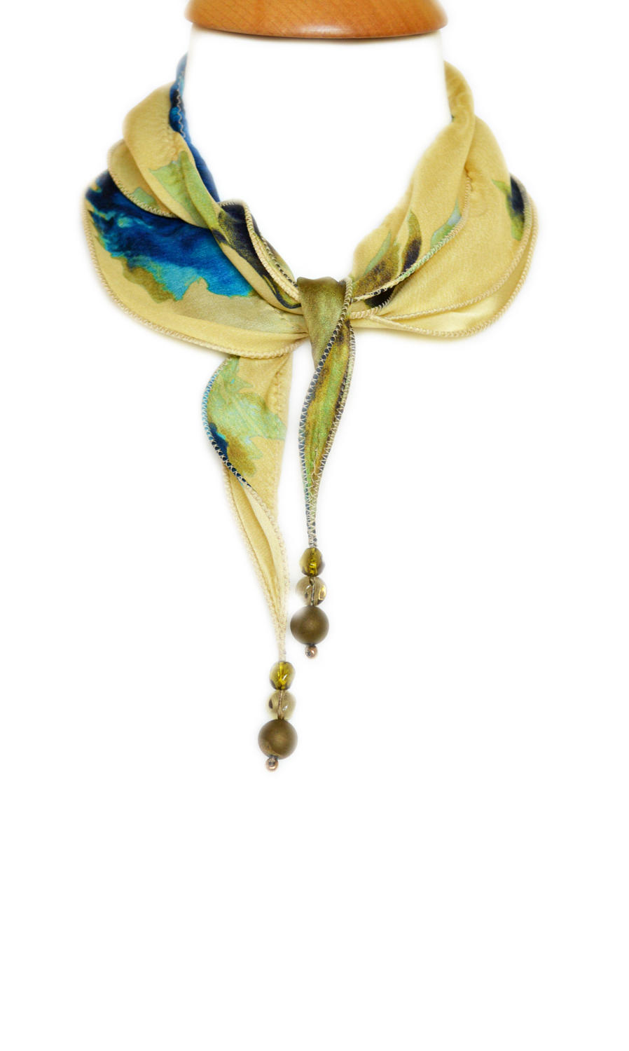 Abstract Floral Silk Necklace Scarf