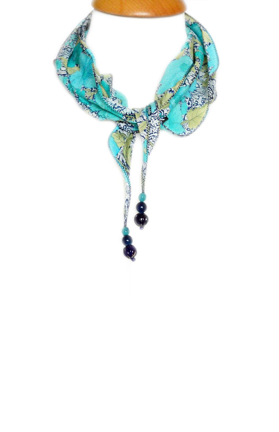 Turquoise Floral Crepe Silk Necklace Scarf
