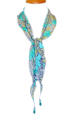 Turquoise Floral Crepe Silk Necklace Scarf - picture 2