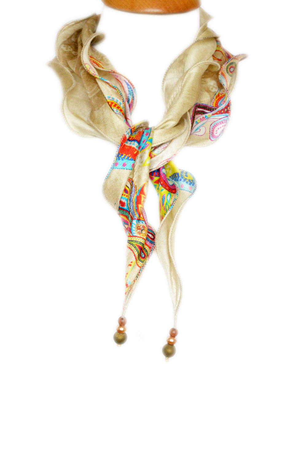 Paisley Sand Silk Necklace Scarf