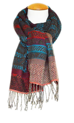 Teal/Multi Double Weave Scarf