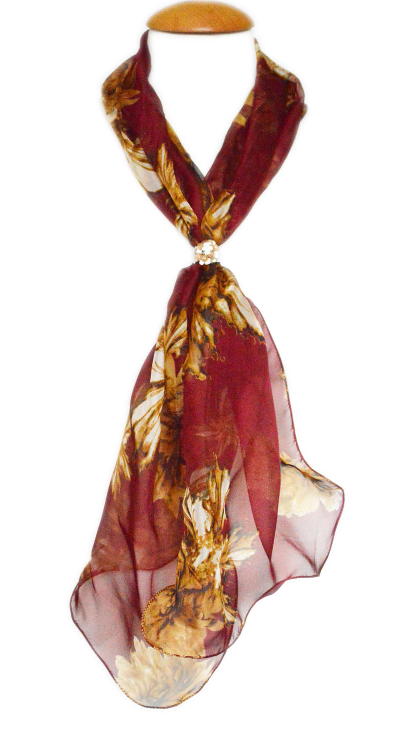 Autumn Floral Silk Scarf