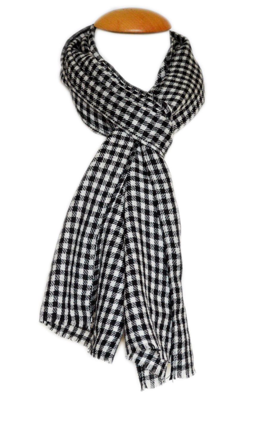 Monochrome Checked Wool Scarf