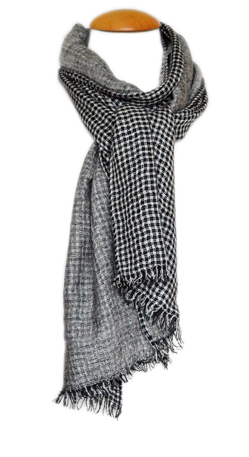 Grey Checked Reversible Scarf